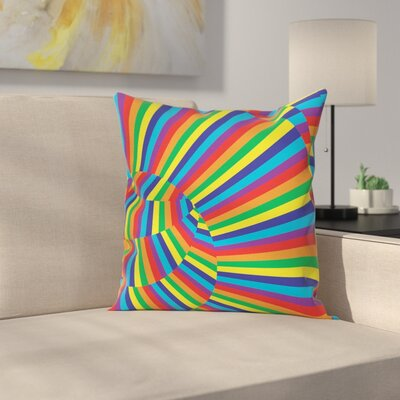 Fabric Rainbow Circles Square Pillow Cover Size: 20 x 20