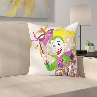 Mardi Gras Cartoon Jester Mask Square Cushion Pillow Cover Size: 20 x 20