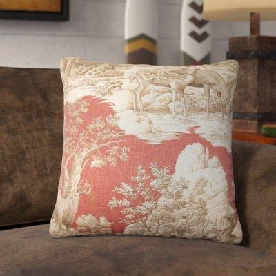 Elijah Toile Cotton Throw Pillow Cover Size: 18 x 18, Color: Redwood