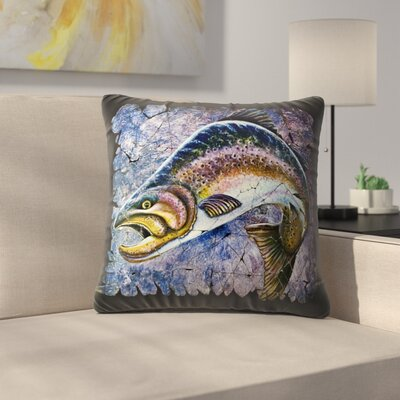 Olena Art Trout Fresco Throw Pillow Size: 14 x 14
