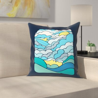 Joe Van Wetering Cloudsurfing Throw Pillow Size: 18 x 18