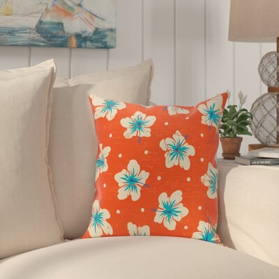 Pembrook Hibiscus Blooms Floral Throw Pillow Size: 16 H x 16 W, Color: Orange
