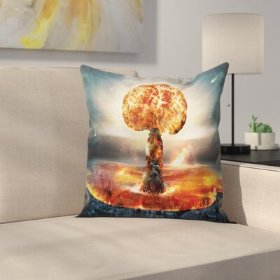 Fabric Case Atomic Bomb Explosion Square Pillow Cover Size: 18 x 18
