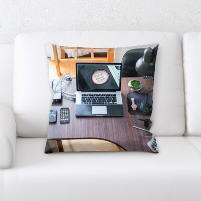 Burgos Computer on a Desk Throw Pillow