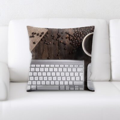 Burkley Keyboard and Coffee Throw Pillow