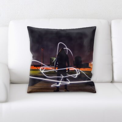 Burling Neon Lights Around a Person Throw Pillow