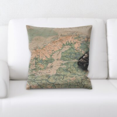 Perryville Car on a Map Throw Pillow