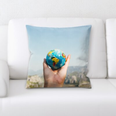 Pershing Holding a Globe Throw Pillow