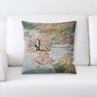 Persinger Little Man on a Map Throw Pillow