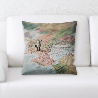 Persinger Little Man on a Map Throw Pillow