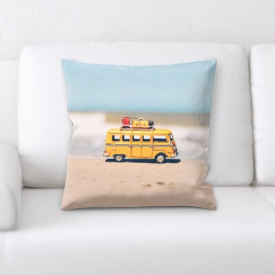 Canto Toy Camper Van By The Beach Throw Pillow
