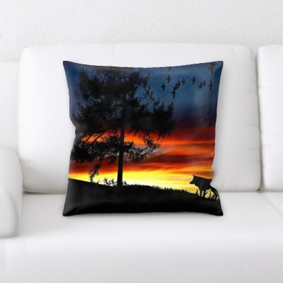 Carle Wolf By The Sunset Throw Pillow