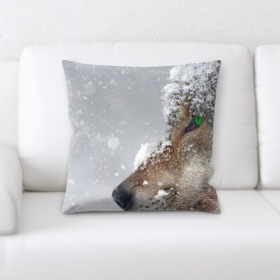 St. Marks Place Wolf in a Snow Throw Pillow