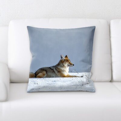 St. Nicholas Wolf Laying in The Snow Throw Pillow
