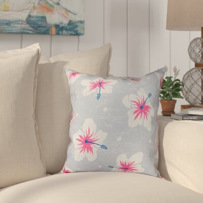 Golden Beach Hibiscus Blooms Floral Outdoor Throw Pillow Size: 20 H x 20 W, Color: Gray