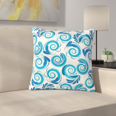 Maria Bazarova Waves Outdoor Throw Pillow Color: White/Blue, Size: 18 H x 18 W x 5 D