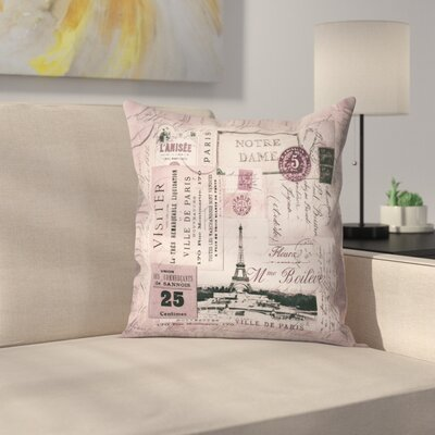 Nostalgic Paris Throw Pillow Size: 16 x 16