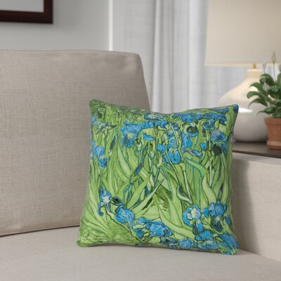 Morley Irises Square Pillow Cover Size: 14 x 14, Color: Green/Blue