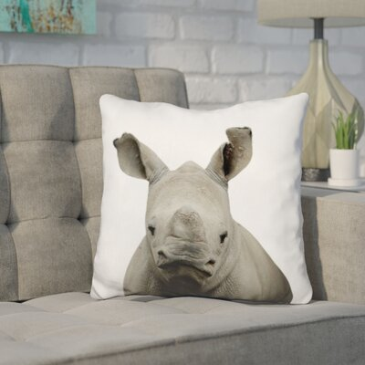 Hoehne Baby Rhino Throw Pillow Color: Gray