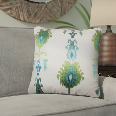 Gamble Ikat Cotton Throw Pillow Color: Blue/Green