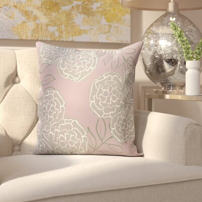 Birness Flower Throw Pillow Size: 18 H x 18 W, Color: Purple / Gray