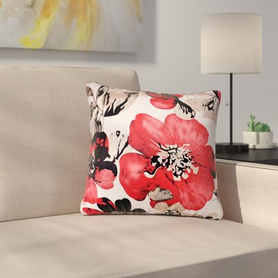 Piotrowski Flower Velvet Throw Pillow Color: Red