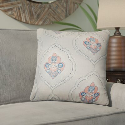 Maricela Floral Cotton Throw Pillow Color: Coral