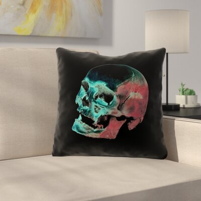 Skull Outdoor Throw Pillow Color: Red/Blue/Black, Size: 18 x 18