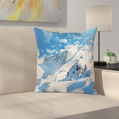 Winter Snowy Mountain Ski Square Pillow Cover Size: 18 x 18