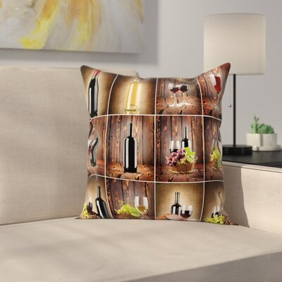 Wine Grapes Meat Drink Collage Square Pillow Cover Size: 16 x 16