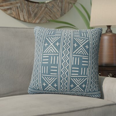 Bemelle Mud Cloth Geometric Throw Pillow Size: 18 H x 18 W, Color: Blue/ Ivory