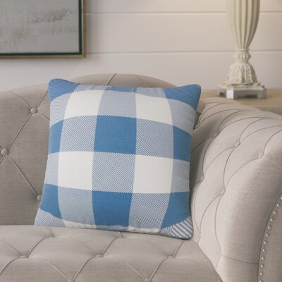 Ronzi Plaid Down Filled 100% Cotton Throw Pillow Size: 24 x 24, Color: Blue