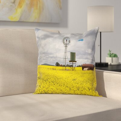 Windmill Decor Canola Meadow Square Pillow Cover Size: 16 x 16
