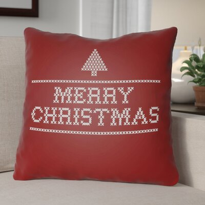Merry Christmas III Indoor/Outdoor Throw Pillow Size: 20 H x 20 W x 4 D, Color: Red