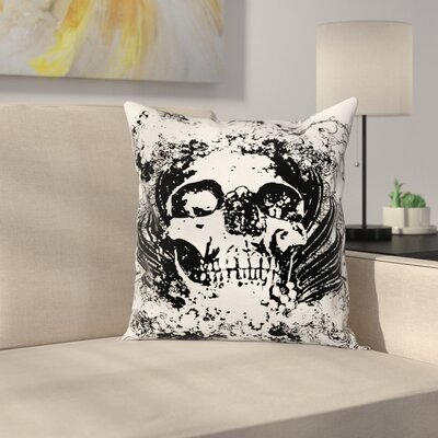 Gothic Dark Horror Scary Skull Cushion Pillow Cover Size: 20 x 20