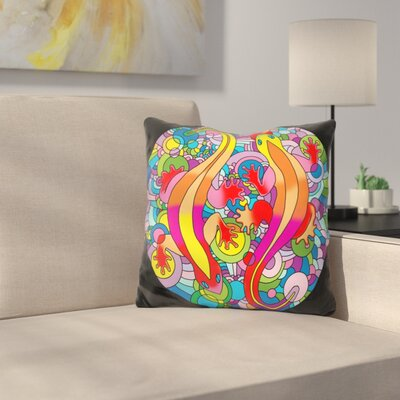 Salamanders Throw Pillow Color: Blue/Yellow