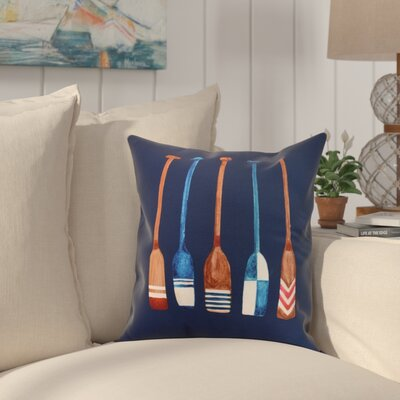 Bryson Oar Multi Painted Throw Pillow Color: Navy, Size: 16 x 16