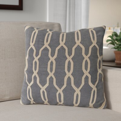 Edgell Geometric Throw Pillow Size: 18 H x 18 W x 4 D, Color: Mediterranean Blue/Parchment, Filler: Down