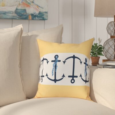 Hancock Anchor Stripe Print Throw Pillow Size: 16 H x 16 W, Color: Yellow