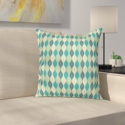 Abstract Oval Curved Lines Dots Square Pillow Cover Size: 16 x 16