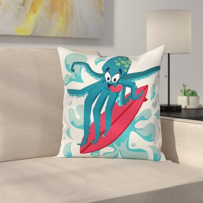 Surfer Octopus Square Cushion Pillow Cover Size: 24 x 24