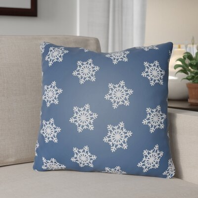 Snowflake Indoor/Outdoor Throw Pillow Size: 18 H x 18 W x 4 D, Color: Blue / White