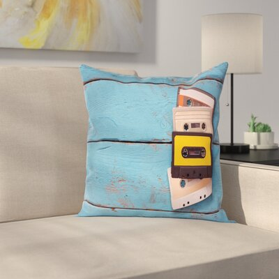 Vintage Cassette Tapes Square Cushion Pillow Cover Size: 24 x 24