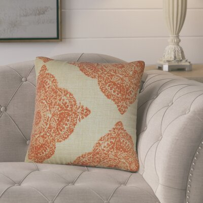 Barta Damask Cotton Throw Pillow Color: Terracota