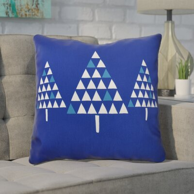 Christmas Trees Outdoor Throw Pillow Size: 16 H x 16 W, Color: Royal Blue
