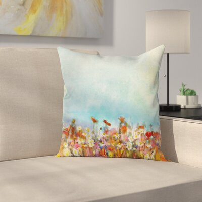 Flower Field Watercolor Square Pillow Cover Size: 18 x 18