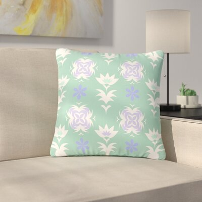 Alison Coxon Edwardian Tile White Outdoor Throw Pillow Size: 18 H x 18 W x 5 D, Color: Blue