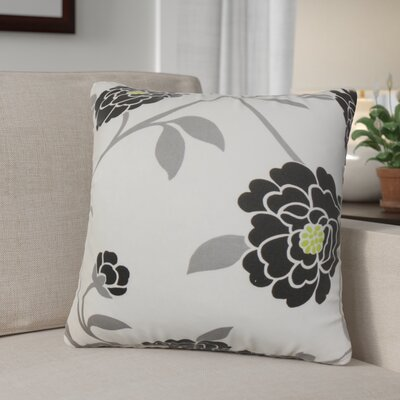 Ashton Ridge Floral Cotton Throw Pillow Color: Noir, Size: 22 x 22