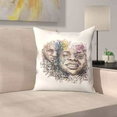 Greek Graffiti Throw Pillow Size: 16 x 16