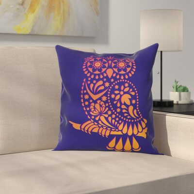 Ornamental Vintage Owl Square Cushion Pillow Cover Size: 18 x 18